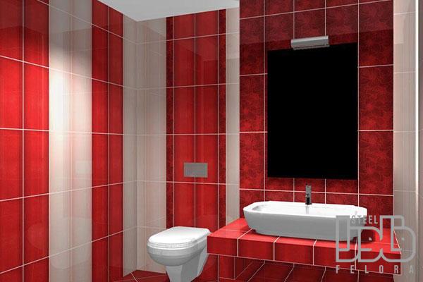 رنک کاشی توالت قرمز